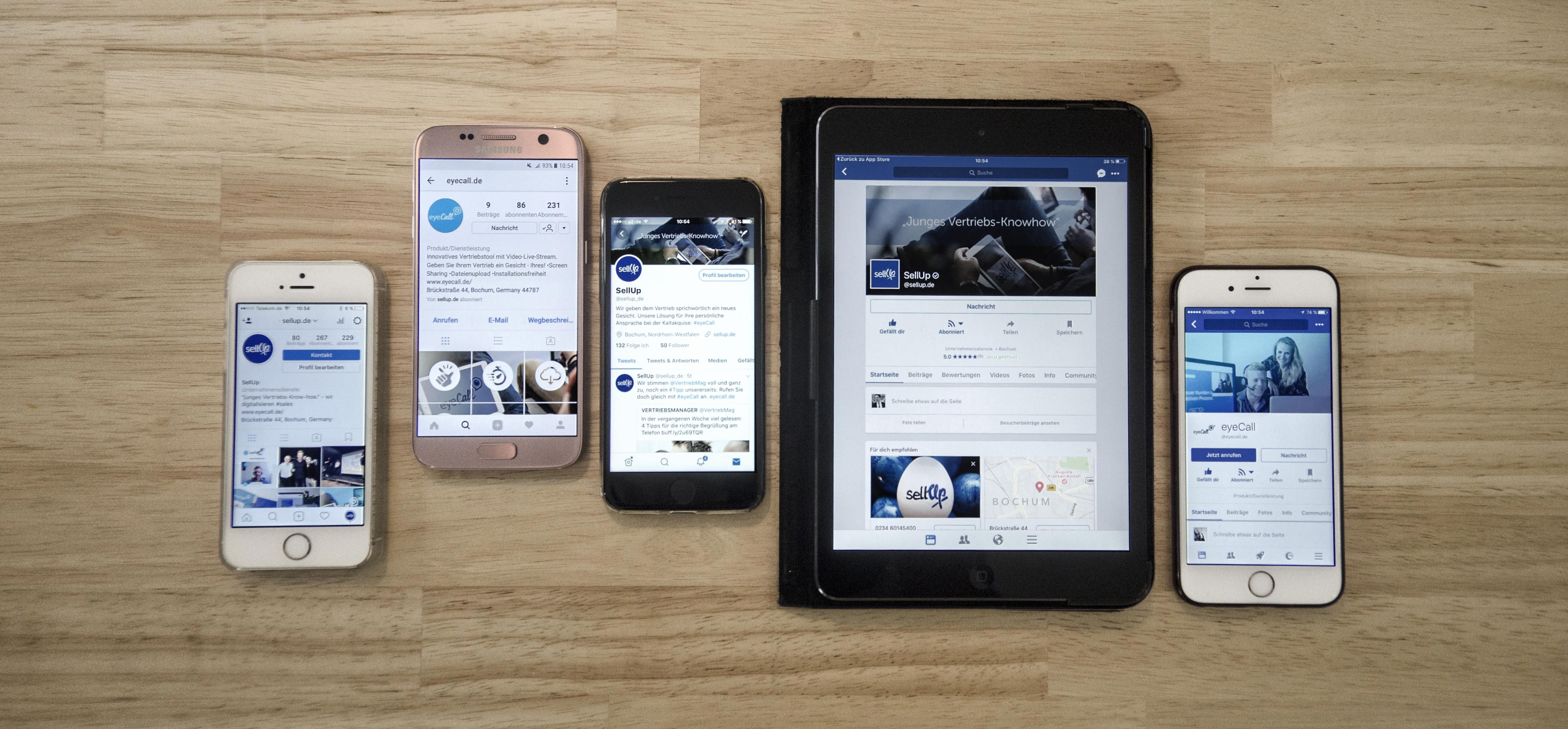 Social Media Plattformen von SellUp und eyeCall: Facebook, Instagram und Twitter